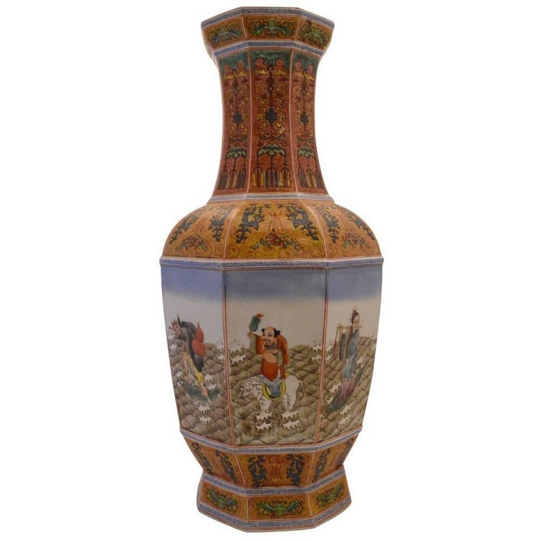 Tall Chinese Enameled Porcelain Segmented Stamped Vase with Eight Immortals