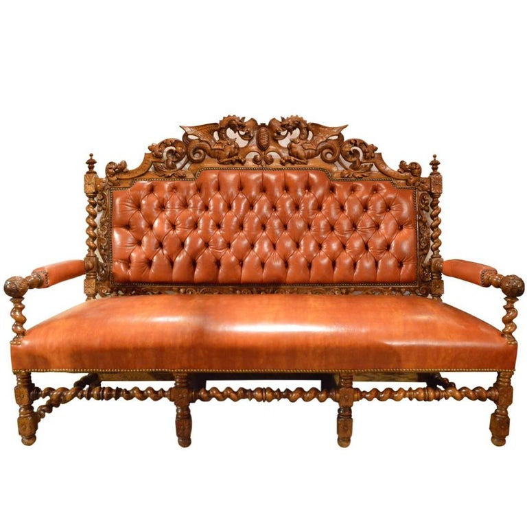Antique Tufted Back Leather Hand Carved Oak Bench Or Sofa For