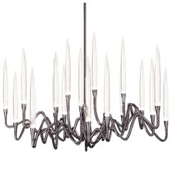"""Il Pezzo 3 Round Chandelier"" LED lamp in black nickel finish brass and crystal"