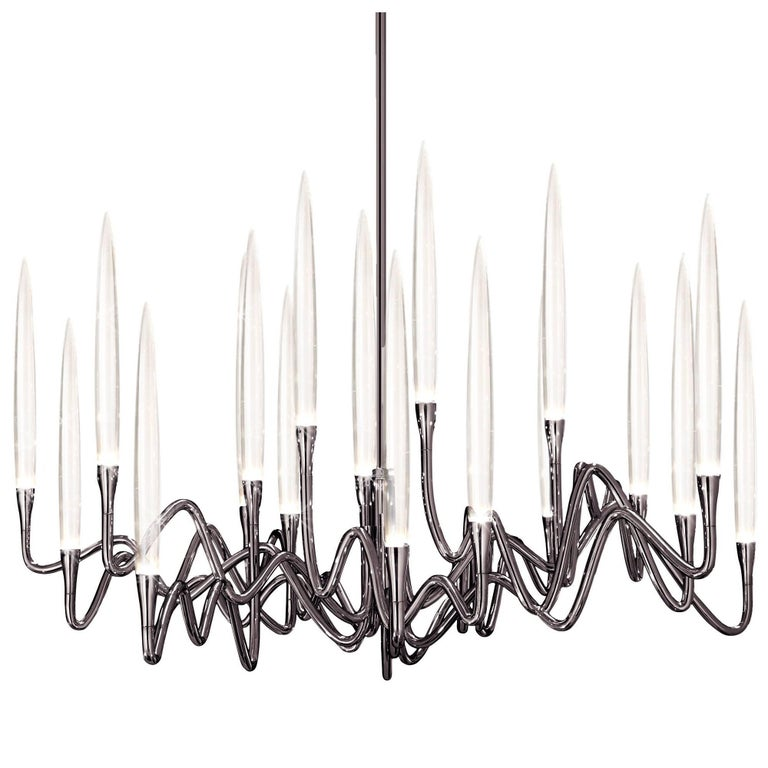 """""""Il Pezzo 3 Round Chandelier"""" LED lamp in black nickel finish brass and crystal"""
