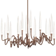 """Il Pezzo 3 Round Chandelier"" Hand Forged Brass Lamp in Bronze Shadow Finish"