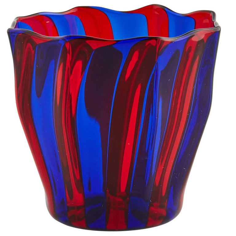 Campbell-Rey Octagonal Striped Tumbler in Red and Blue Murano Glass For Sale