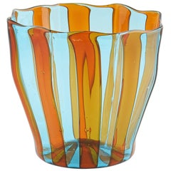 Campbell-Rey Octagonal Striped Tumbler in Amber and Turquoise Murano Glass