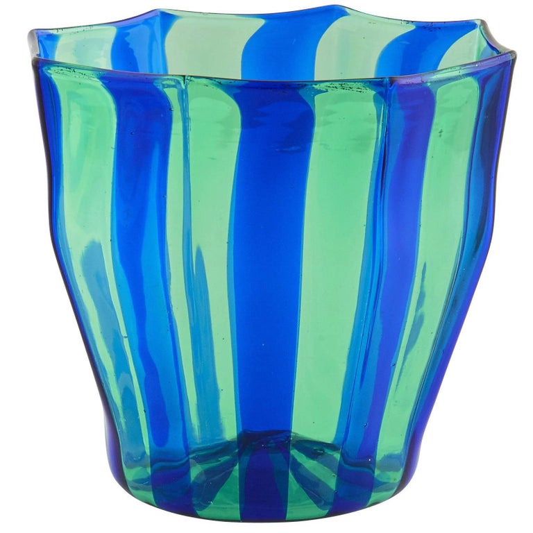Campbell-Rey Octagonal Striped Tumbler in Green and Blue Murano Glass