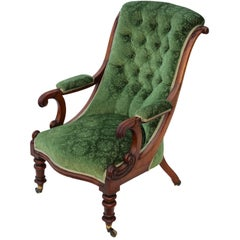 Antique Quality William IV Mahogany Library Armchair, circa 1830-1840