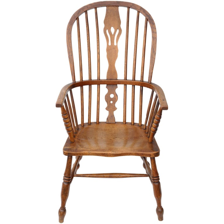 Antique Victorian circa 1840 Ash and Elm Windsor Armchair ...