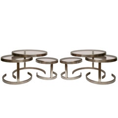 Pair of Brushed Steel Nesting Tables