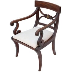 Antique Quality Regency Mahogany Elbow Desk Carver Chair, circa 1825
