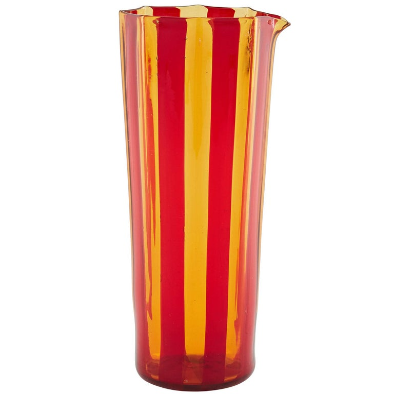 Campbell-Rey Octagonal Striped Carafe in Red and Amber Murano Glass For Sale