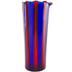 Campbell-Rey Octagonal Striped Carafe in Red and Blue Murano Glass