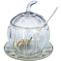 Early 20th Century Cut Glass Pumpkin Serving Punch Bowl