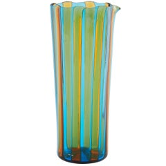 Campbell-Rey Octagonal Striped Carafe in Amber and Turquoise Murano Glass
