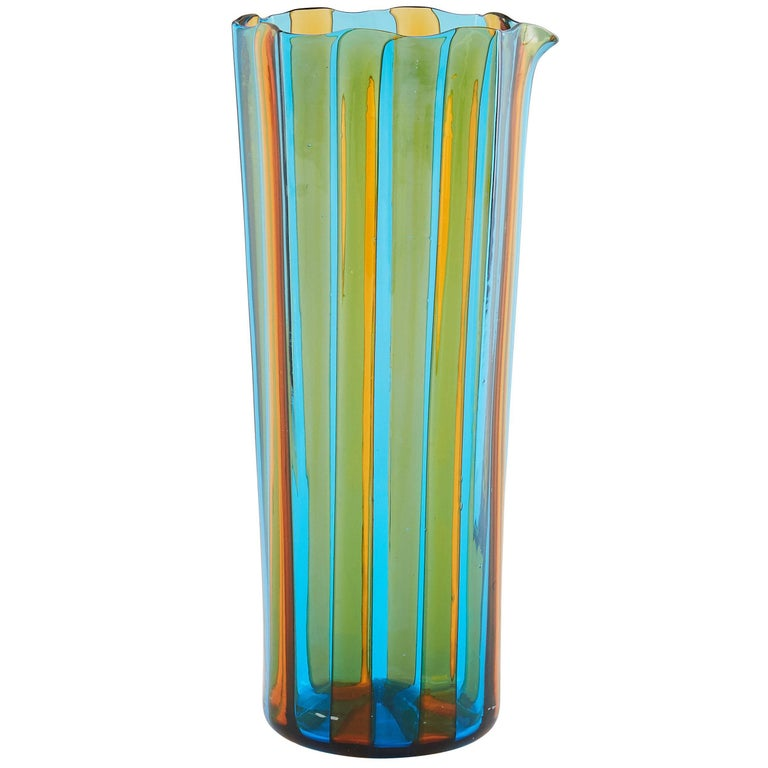Campbell-Rey Octagonal Striped Carafe in Amber and Turquoise Murano Glass For Sale