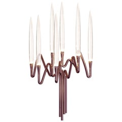 """Il Pezzo 3 Wall Sconce"" rose bronze finish candelabrum wall light"