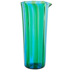 Campbell-Rey Octagonal Striped Carafe in Green and Turquoise Murano Glass