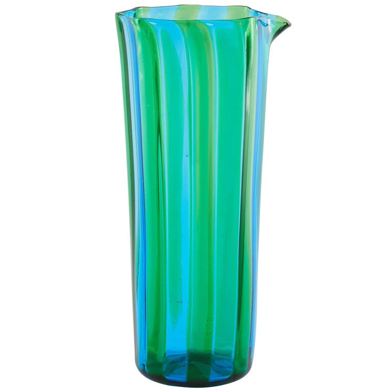 Campbell-Rey Octagonal Striped Carafe in Green and Turquoise Murano Glass For Sale