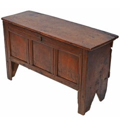 Antique Georgian 18th Century and Later Oak Coffer or Mule Chest