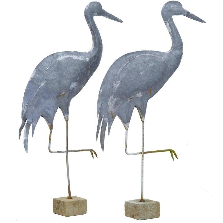 pair of 20th century swedish galvanised decorative cranes. Black Bedroom Furniture Sets. Home Design Ideas