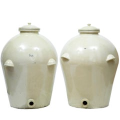 Pair of Massive Doulton of London RMS Shipping Stonware Alcohol Jar Vats