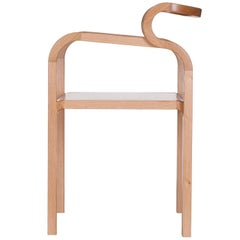 Odette Curvy Dining Chair with Armrests in Solid Oak Wood