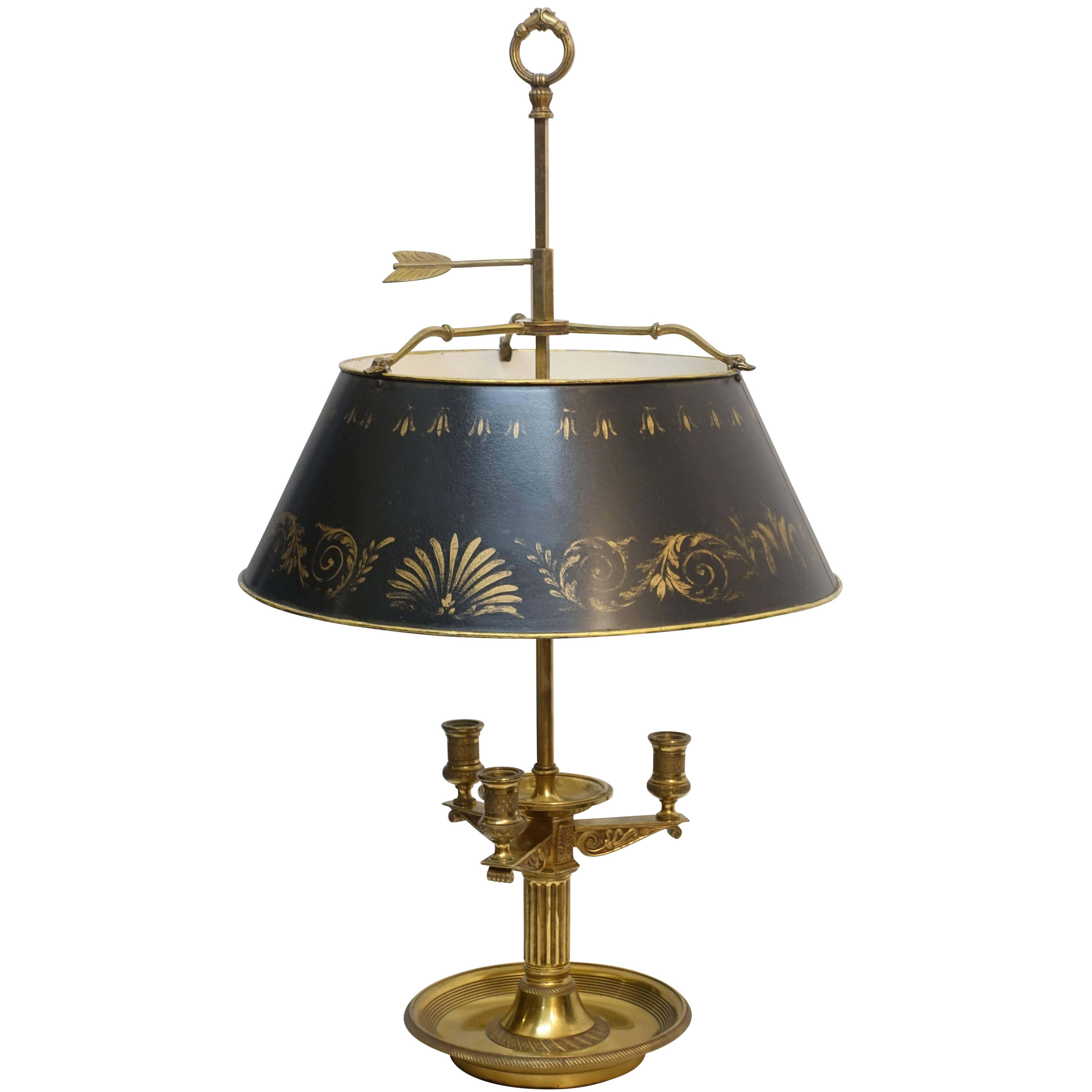French Empire Style Brass Bouillotte Lamp With Black And Gilt Tole Shade  For Sale