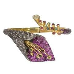 Vermeil Floral Bangle Bracelet