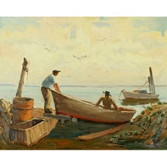 "Melville Stark Midcentury Oil Painting of Fishermen ""Longboat Key"""