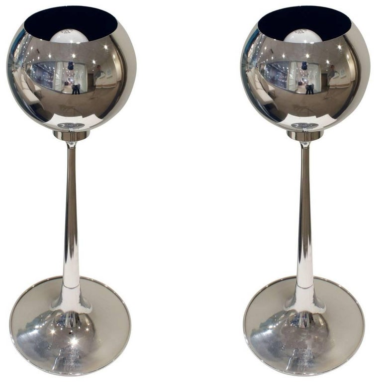 Pair of Chrome Table Lamps with Magnetized Spheres, 1960s