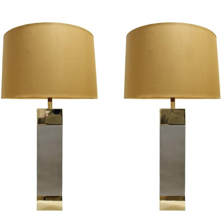 Pair of Sleek Table Lamps in Brushed Chrome and Brass, 1960s