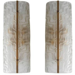 Pair of Italian Murano Textured Glass Sconces by Barovier e Toso