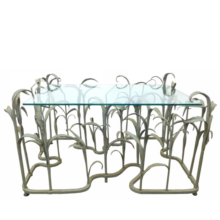 "Wrought Iron and Glass ""Tall Grass"" Coffee Table"