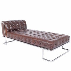 Tubular Steel and Leather 1970s German Daybed