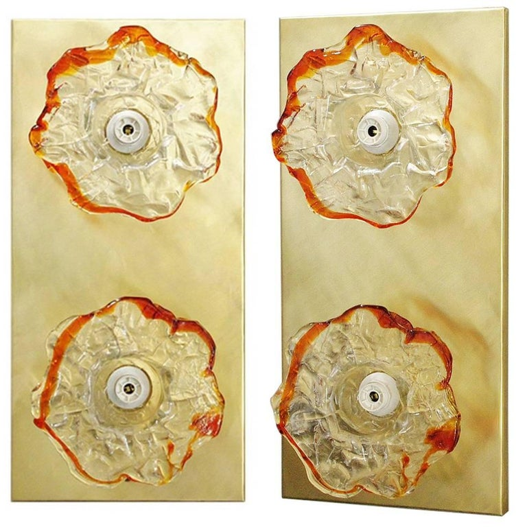 Italian Murano Double Flowers Glass Sconces or Flush Mounts by Mazzega