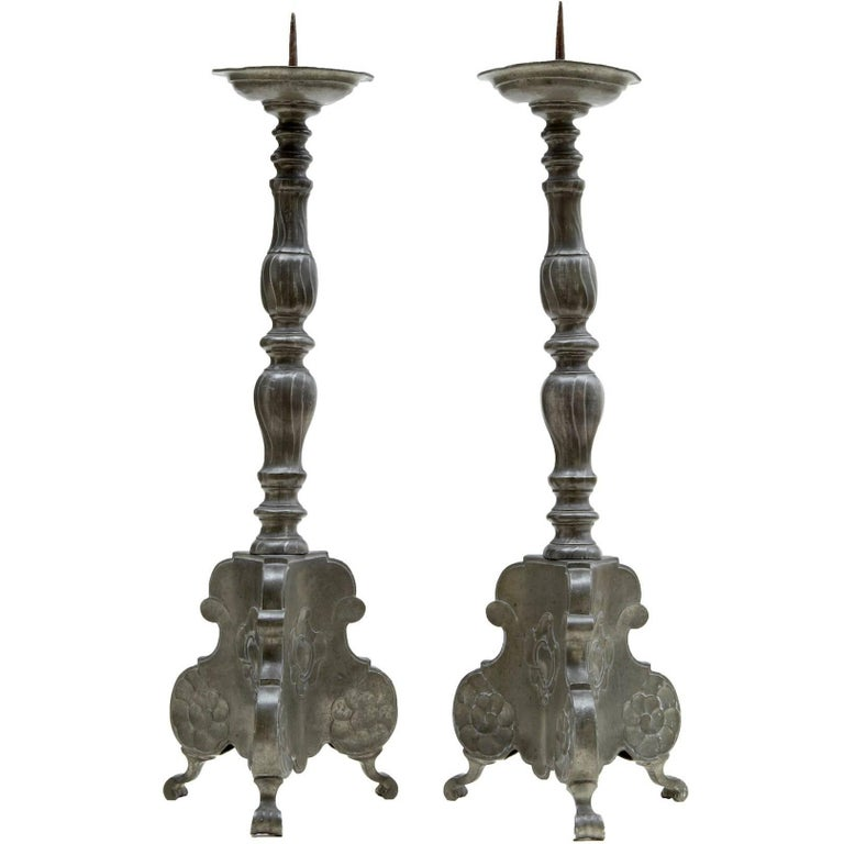 Pair of Late 19th Century Pewter Pricket Candlesticks