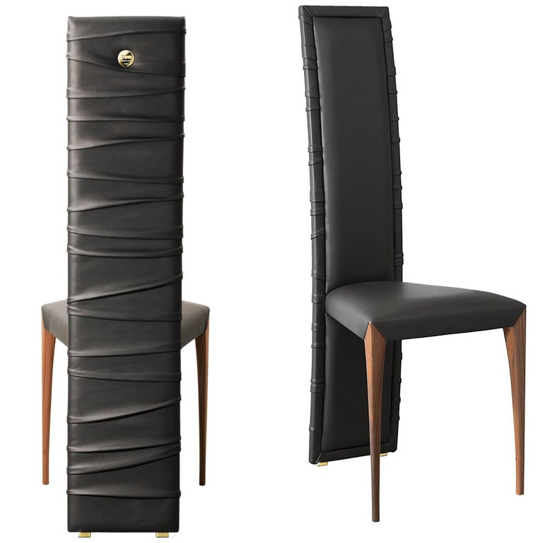 """Il Pezzo 7 Chair"" high back chair upholstered in fine quality leather"