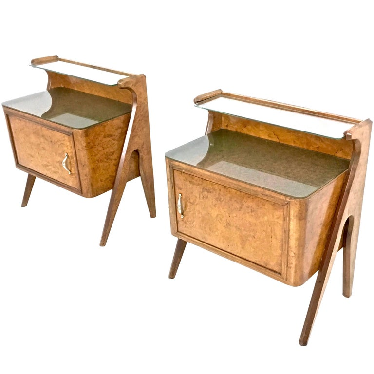 Pair of Birch Briar Root Nightstands with Glass Top, Italy, 1950s