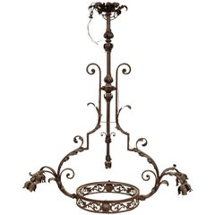 Tall Hand Wrought Iron Chandelier