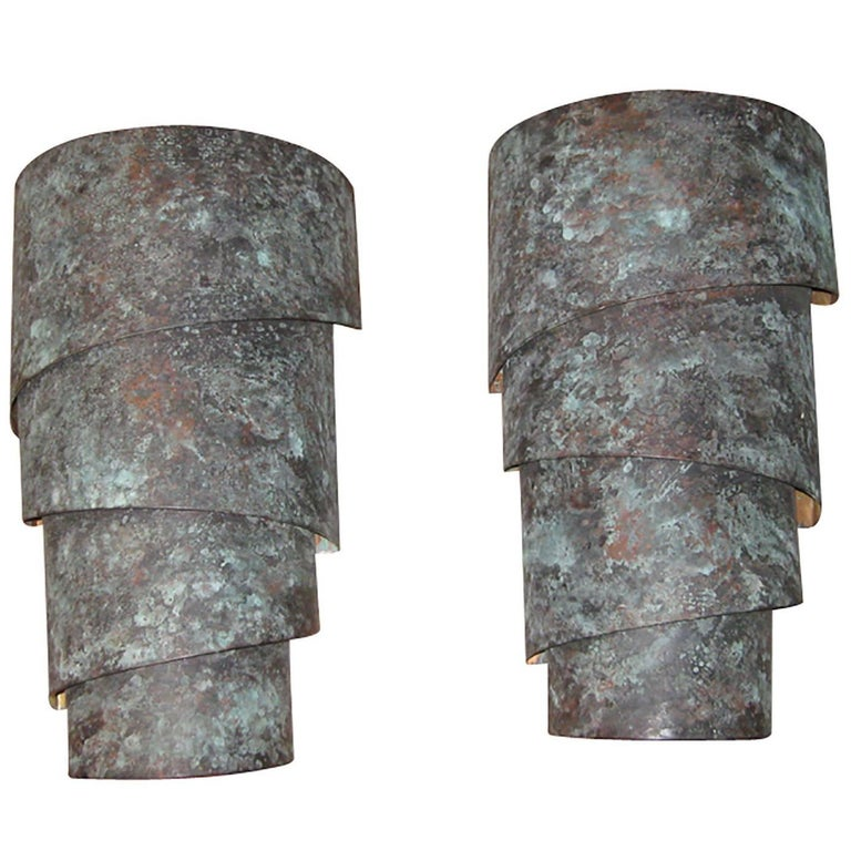 Pair of 20th Century Copper Oxidized Sconces, Great Movement