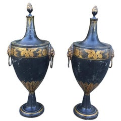 Pair of Tall English Regency Tole Chestnut Urns, circa 1800-1820
