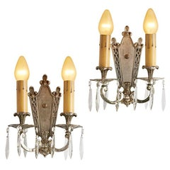 Pair of Silver Plated Candle Sconces with Crystal Spears, circa 1920s