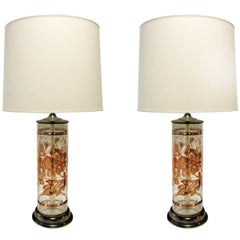 Pair of Beautiful Hand-Painted Glass Table Lamps, 1940s