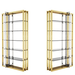 Modern Italian-style Brass and Chrome Shelving Unit with Smoked Glass