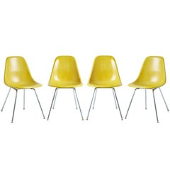 Set of Four Yellow Fiberglass Shell Chairs by Herman Miller, circa 1950s