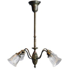 Wakefield Four Arm Brass Chandelier with Shades