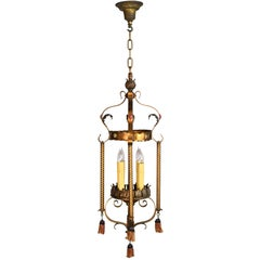Tall Four Candle Tudor Pendant with Tassels