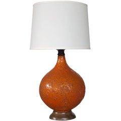 Large & Iconic American 1960s Burnt-Orange Crater-Glazed Ceramic Lamps