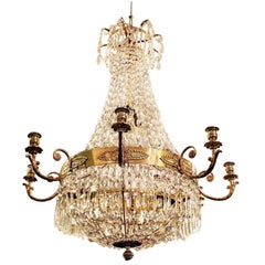 Late 19th Century Empire/Karl-Johan Style Crystal Chandelier from Sweden