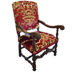 Antique Hand-Carved Walnut Italian Chair