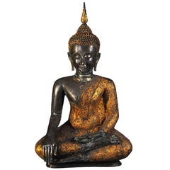 18th Century, Gilt Bronze Virasana Buddha in Bhumisparsha Mudra, Art of Thailand