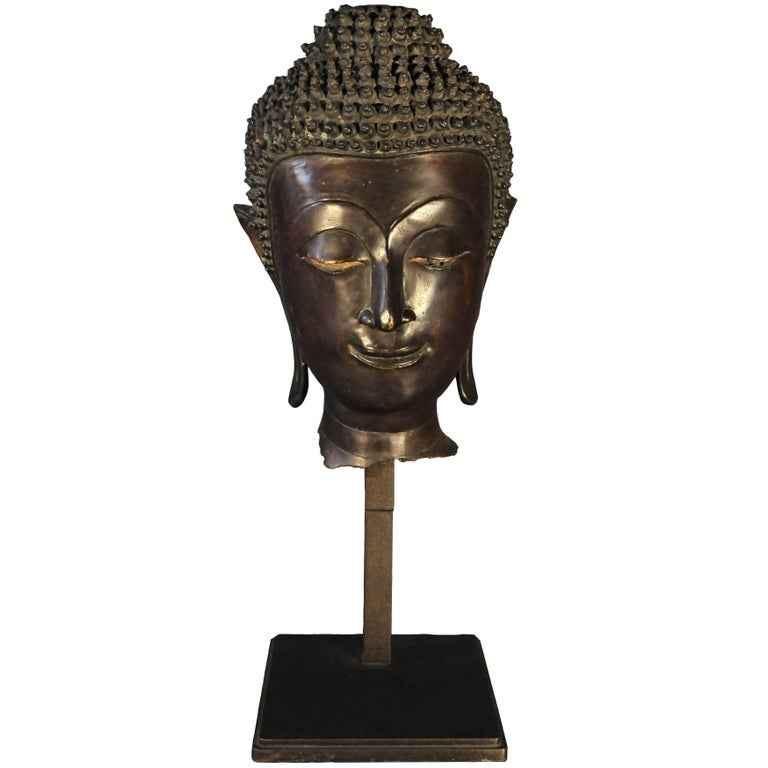 Late 17th Century, Bronze Buddha Head, Ayutthaya Kingdom, Art of Thailand